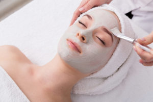 Woman geting a Facial at Pur Bliss Med Spa in St. Charles, IL.